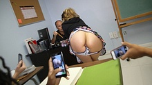 Naughty college coed shows off her naked ass in class