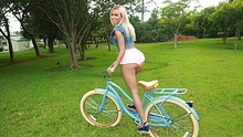 Sexy blonde girlfriend got a new bike and rewarded her BF with hot sex