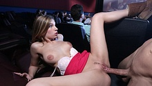 Naughty college girlfriend and her guy fucking at the cinema