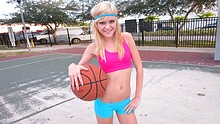 Tiny blonde teen gets her tight pussy pounded hard after playing basketball