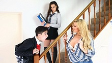 Nerd fucks his sexy schoolmate and then her hot stepmom