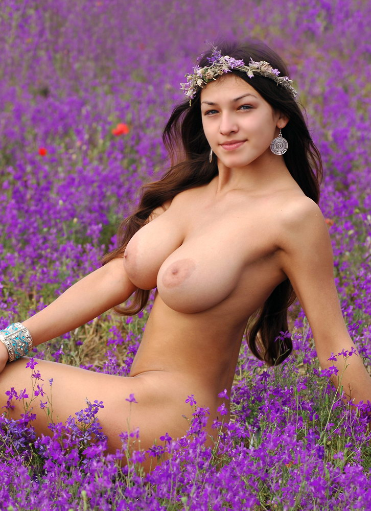 Naked girl in flowers