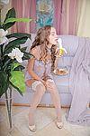 Girl playing with banana
