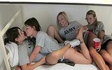 Four sexy army girls trying first lesbian sex