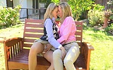 Naughty blonde teen gets seduced by a mature lesbian mom