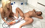 Teens play together with a power tool sex toy