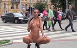 Nude girl on the street