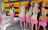 Naughty teen girls have lesbian fun on the back of the bus
