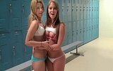Girlfriend shares her boyfriends hard cock with her bestie in the locker room!
