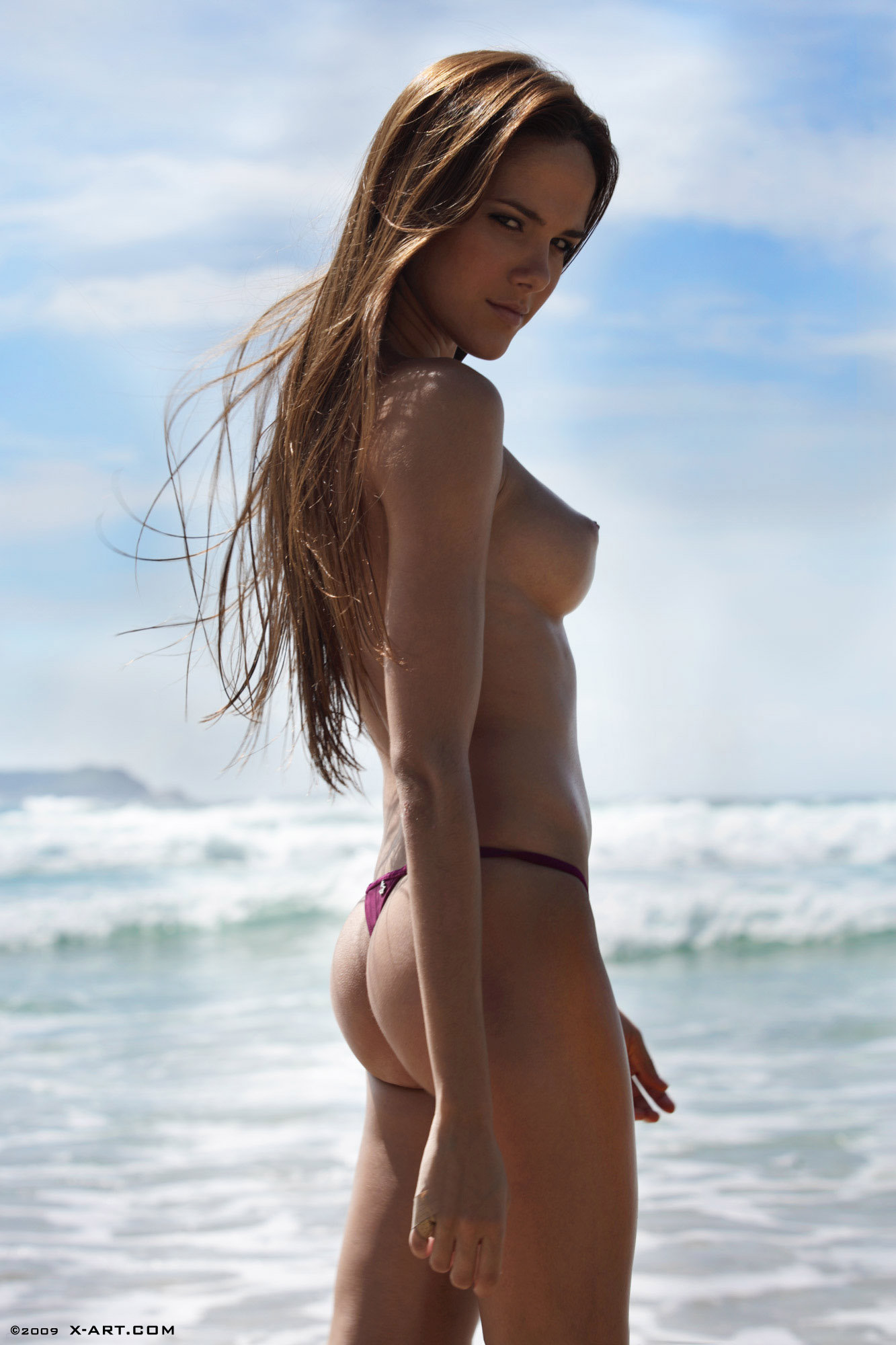 beautiful breasts on the beach