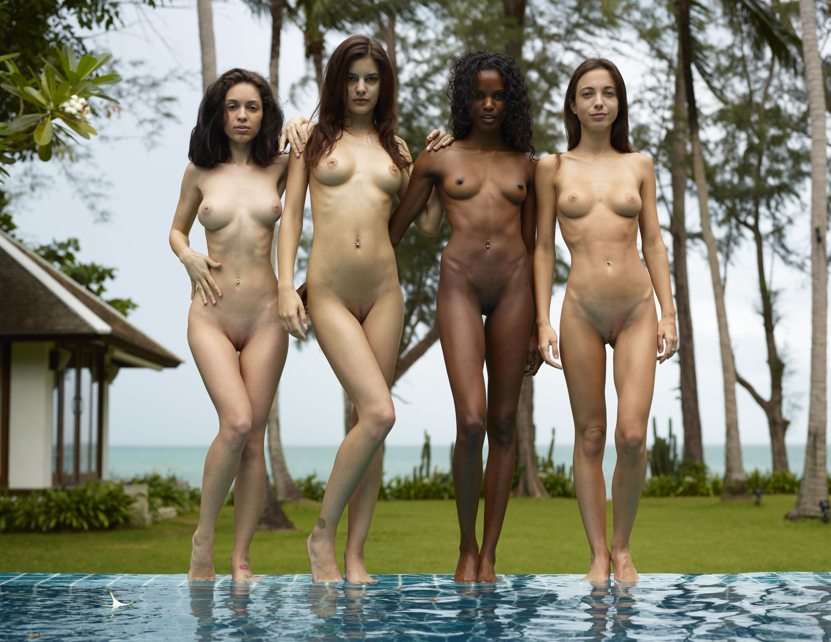 Four nude girls